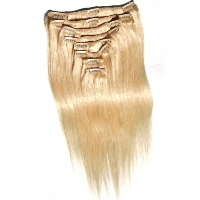 Julia Clip In Indian Human Virgin Hair Extensions Straight Full Head Clip On Human Hair Extensions