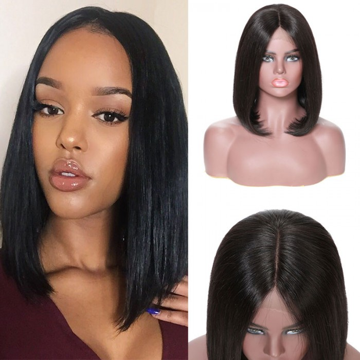 Julia 150% Density Lace Front Short Bob Wig 8-14 Inch Best Brazilian Bob Straight Human Hair Wig