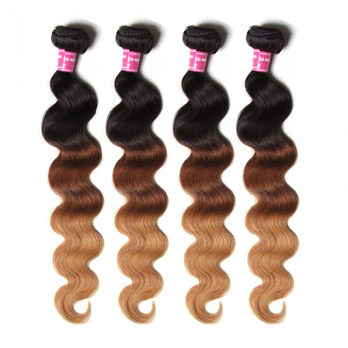 Julia Ombre Human Virgin Hair 4pcs/pack Three Tone Ombre Body Wave Virgin Hair