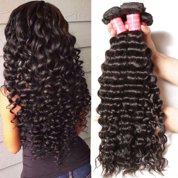 Julia 4Pcs pack Virgin Deep Wave Brazilian Hair Real Brazilian Human ... ad9c4b839e11