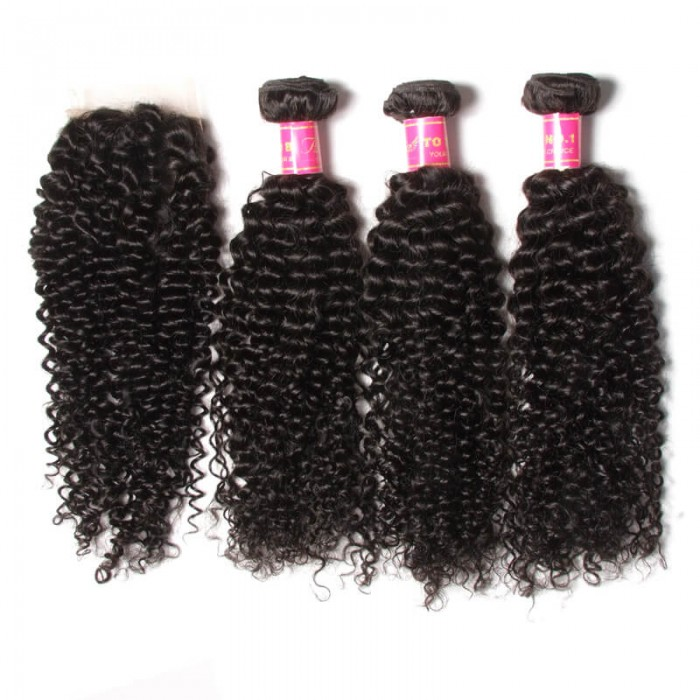 Julia 1Pc Virgin Curly Brazilian Hair Closure With 3 Bundles Of Curly Hair Weaves