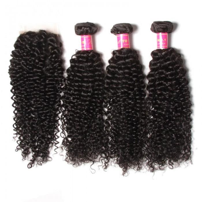 Julia Buy 3 Bundles Get 1 Free Closure Brazilian Curly Virgin Hair Weaves 3 Bundles + One Free Closure