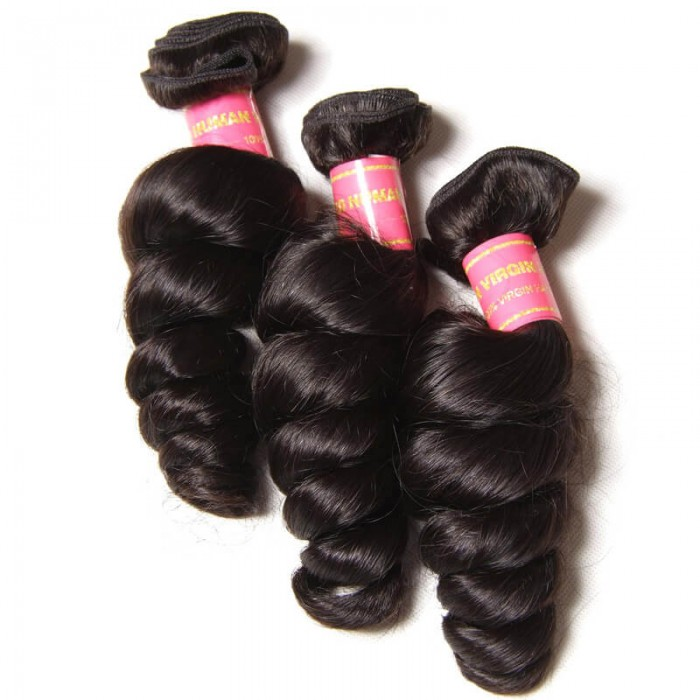 Julia 3pcs/pack Virgin Loose Wave Peruvian Hair Bundles Human Hair Weft