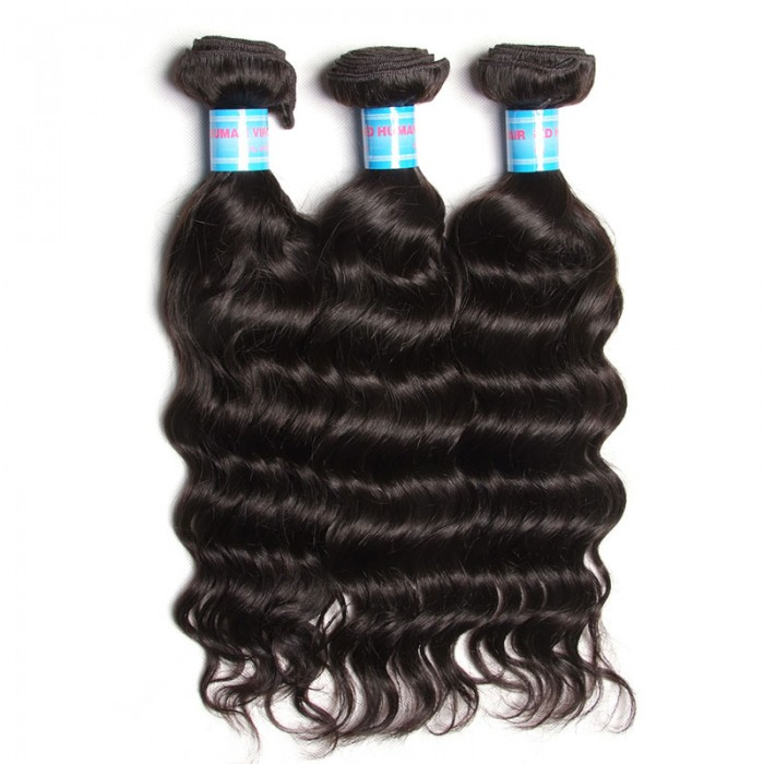 Julia Brazilian Natural Wave Weave Hair Unprocessed Brazilian Natural Wavy Human Hair Extensions 3 Pcs/pack
