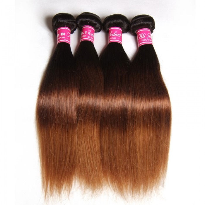 Julia Three Tone Brazilian Ombre Straight Virgin Hair Weave 4