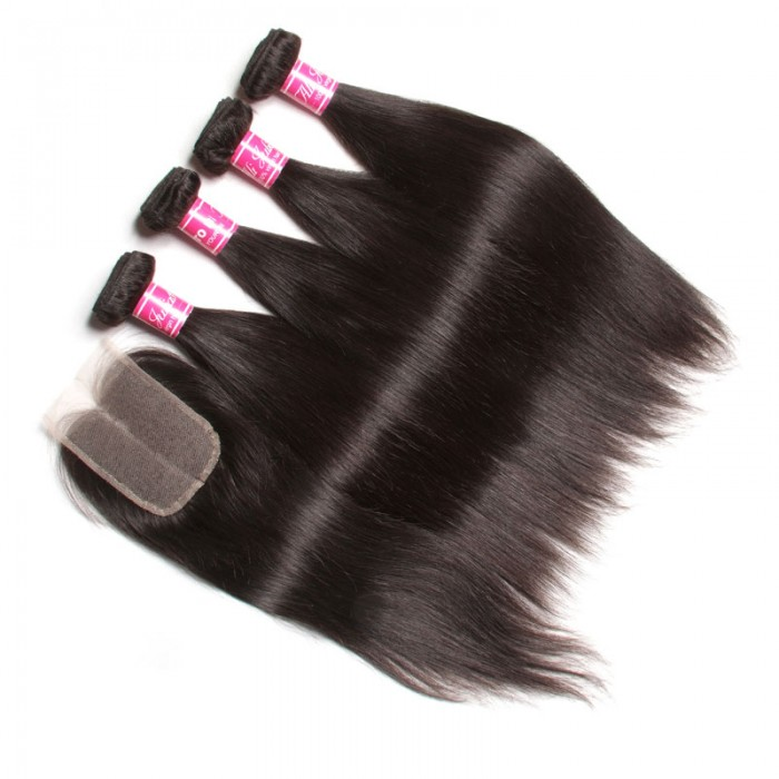 Julia Straight Hair Bundles With Lace Closure
