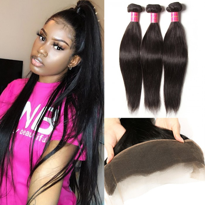 Julia 3Pcs Virgin Straight Hair Bundles With Lace Frontal