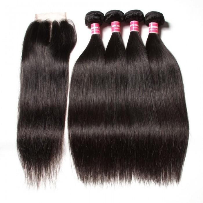 Julia 4 Bundles Straight Indian Human Virgin Hair With Lace Closure