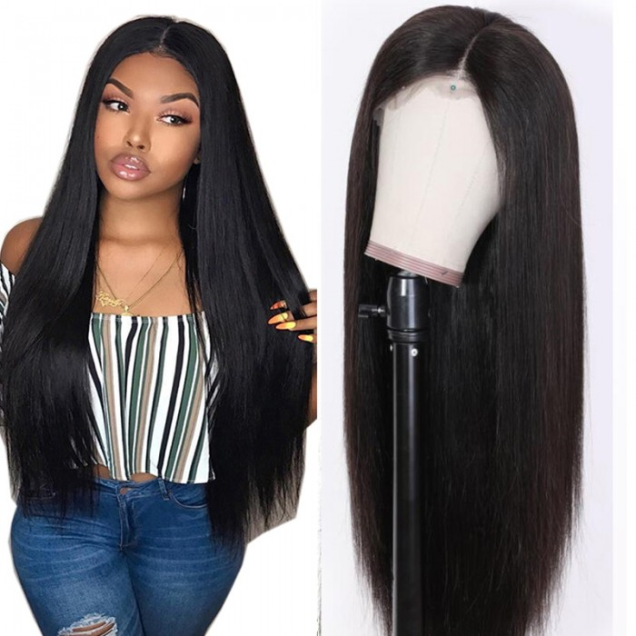 Julia 150 Density Straight Lace Front Human Hair Wigs Natural Black 13x4 Lace Front Long Straight Wigs