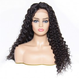 Julia Deep Wave Brazilian Lace Front Wig Natural Color Middle Long Deep Wave Human Hair Wig