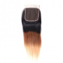 Julia Three Tone Straight Human Hair Lace Closure 1B/4/27 Color 1 Piece 4x4 Ombre Lace Closure