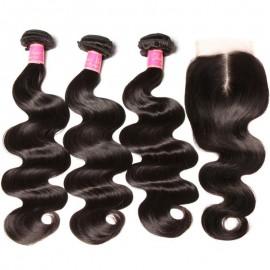 Unprocessed Julia Body Wave Hair 3 Bundles With Lace Closure