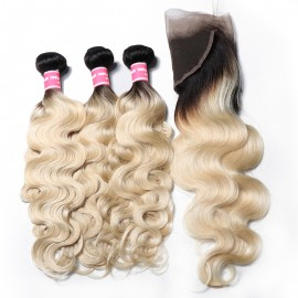 Julia Blonde Ombre Human Hair Body Wave 3 Bundles With 13x4 Frontal 1B/613 Color
