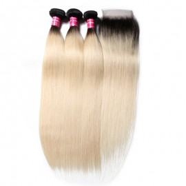 Julia 3 Bundles 1B/613 Color Ombre Straight Human Hair With 4x4 Closure 100% Quality Ombre Straight Hair Bundles