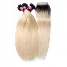 1B/613 Human Hair Straight 3 Bundles With Closure