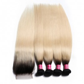 Julia 1B/613 Color Brazilian Straight Ombre Hair 4 Bundles With 4x4 Lace Closure