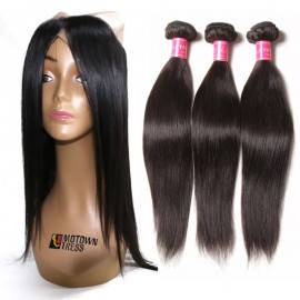 3 Bundles Straight Human Hair With 360 Lace Frontal