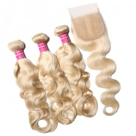 Julia 613 Color Real Human Hair 3 Bundles With 4x4 Lace Closure Quality Blonde Body Wave Weaves With Closure