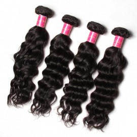 Julia Natural Wave Soft Human Hair Weaves 4 Bundles With 13x4 Lace Frontal Natural Wave Hair