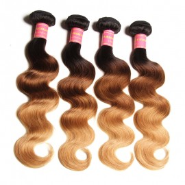 Julia 4 Bundles Brazilian Ombre Body Wave Human Hair Three Tone Brazilian Ombre Hair Weave