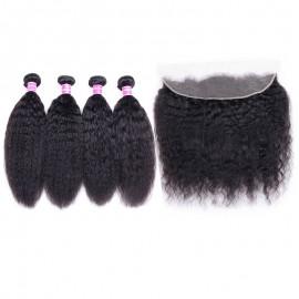 Julia Kinky Straight Hair Weaves 4 Bundles With Frontal 100% Pure Kinky Straight Human Hair 13x4 Lace Frontal