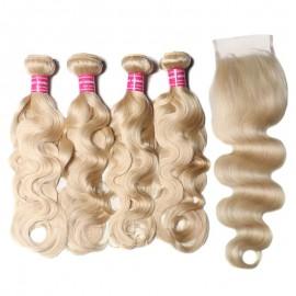 613 Color 4 Bundles Brazilian Human Hair Body Wave With Closure