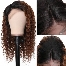 Julia 1B/30 Long Ombre Curly Human Hair Lace Front Wig 100% Real Human Hair 10-24 Inch Pre Plucked With Baby Hair