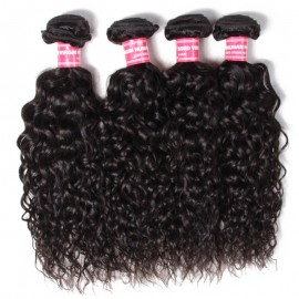 Julia Brazilian Water Wave Virgin Hair 4 Bundles Human Hair Water Wave Bundles Natural Black Color