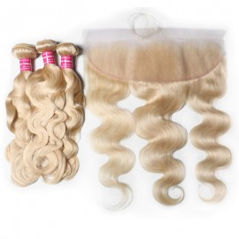 Julia Hair Blonde Brazilian Virgin Human Hair 3 Bundles With Frontal Body Wave 613 Hair