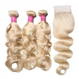 613 Color Real Human Hair Bundles With Closure