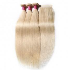 613 Brazilian Straight Real Human Hair 3 Bundles With Closure