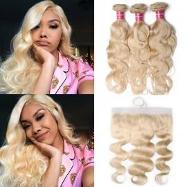 Blonde Brazilian Virgin Human Hair 3 Bundles With Frontal
