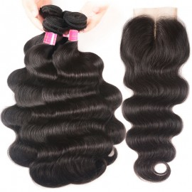 Julia Peruvian Virgin Hair Body Wave Lace Closure With 3 Bundles Human Hair Weave