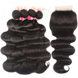 Julia 4pcs Malaysian Body Wave Weave With 1pc Lace Closure Human Hair Bundles With Closure