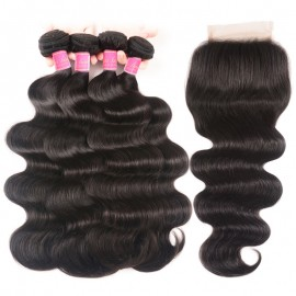 Julia Human Hair Virgin Indian Remy Body Wave Weave 4 Bundles With Lace Closure
