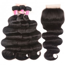 Julia 3 Bundles Body Wave Human Hair With 4x4 Transparent Lace Closure