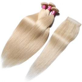 Julia 613 Brazilian Straight Real Human Hair 3 Bundles With Closure Best Blonde Bundles 613 Hair For Sale