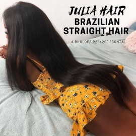 Julia 4Pcs Soft Brazilian Natural Straight Hair Weave Bundles With 1Pc Thick Lace Frontal For Sale