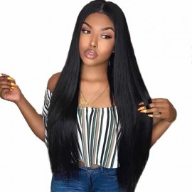 Julia 150% Density Straight Lace Front Human Hair Wigs Natural Black 13x4 Lace Front Long Straight Wigs