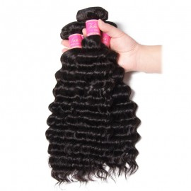 Julia 7A Unprocessed Virgin Brazilian Deep Wave Hair 3 Bundles Human Hair Weave