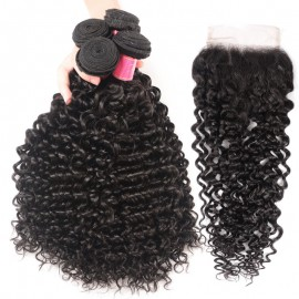 Julia 100% Curly Human Hair Weave 4 Bundles Virgin Curly Hair Bundles With Lace Closure