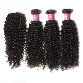 Julia 3Pcs Jerry Curly Hair Weave With Closure