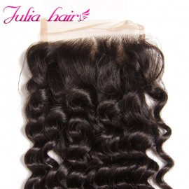Julia Deep Wave Lace Closure 100% Virgin Human Deep Wave Hair Closure