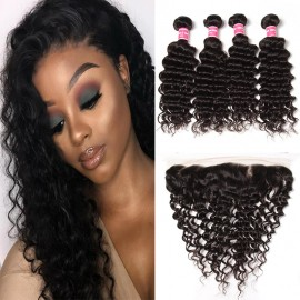 4 Pcs Deep Wave Human Hair Weaves With 1 Pc Frontal