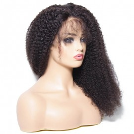Julia Brazilian Kinky Curly Human Hair Wigs With Baby Hair 150% Density Natural Color 13x4 Brazilian Curly Lace Front Wigs
