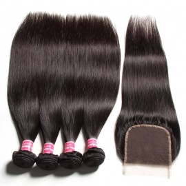 Julia 4 Bundles Straight Indian Human Virgin Hair With Lace Closure