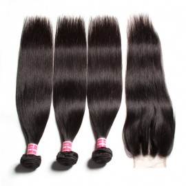 Julia  Straight  Indian Human Virgin  Hair 3 Bundles With Lace Closure