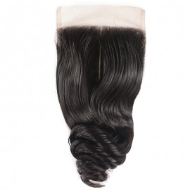 Julia 4x4 Loose Wave Lace Closure Human Hair Free Part Pre Plucked Loose Wave Closure For Sale