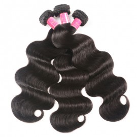 Julia Body Wave Weaves 2 Bundles With Lace Closure Natural Color Customized 4x4 Lace Body Wave Wigs