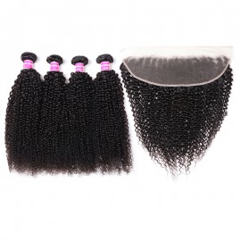 Julia Kinky Curly Human Hair Weaves 4 Bundles With Frontal Free Part Kinky Curly 13x4 Frontal
